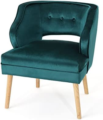 Best Christopher Knight Home Mariposa Mid-Century Velvet Accent Chair, Teal / Natural