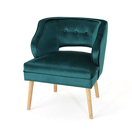 Christopher Knight Home Mariposa Mid-Century Velvet Accent Chair, Teal / Natural