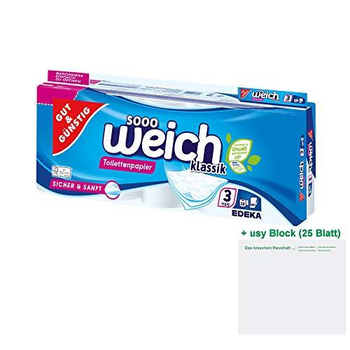 Gut & Günstig Klassik Toilettenpapier 3-lagig (10 Rollen à 200 Blatt) + usy Block