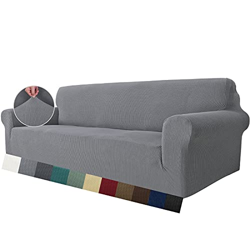 MAXIJIN Super Stretch Couch Bezug für 4-Sitzer Couch, extra große universelle Sofabezüge Jacquard Spandex Pet Dog Möbel Protector Fitted Couch Schonbezug (4 Sitzer, Hellgrau)