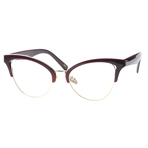 92ff970713ff SOOLALA Womens Large Half Frame Cat Eye Reading Glass Unique Eyeglass Frame