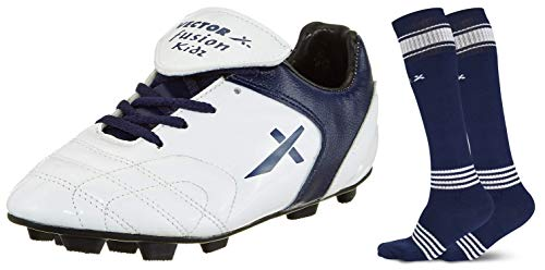 Vector X Fusion Football Shoes, Kids Size 1 (White/Blue) + FIZERSOCKS-2PAIR-NAVY