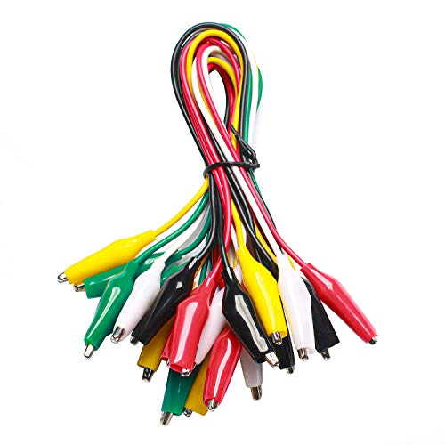 WGGE WG-026 10 Pieces and 5 Colors Test Lead Set & Alligator Clips, 20.5 inches, Wires soldered and Stamping (1 Pack)
