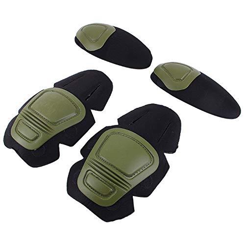 Taktische Knie- und Ellenbogenschützer für Paintball, Airsoft, Kampfuniform, Militäranzug, 2 Knieschützer und 2 Ellenbogenschützer/Set, Grün