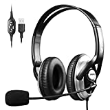 Wired Headphones with Microphone Noise Cancelling,in line Volume Control & Mute,Office Headset Stereo for skype Zoom Meetings,Comfort-fit Headset for Computer, buisness, Video Conference, Call Center