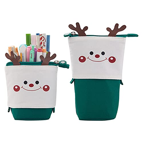 Jiangpan Estuche de lápices lindo bolso de lona de dibujos animados plegable titular organizador de papelería para niños y niñas