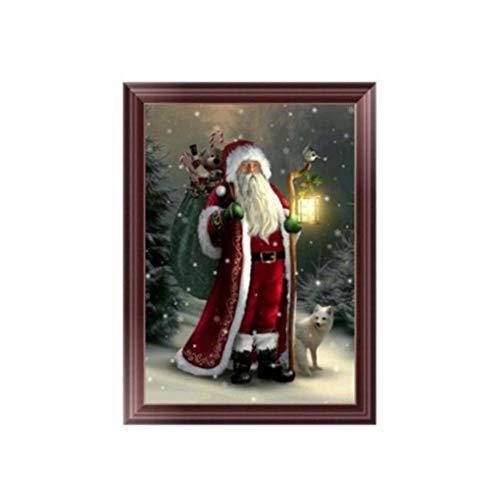 Timlatte Bricolaje Pintura de Santa Claus Resina del Rhinestone Crystal Bordado Diamante del hogar del Cuadro Decorativo de la Navidad Punto de Cruz