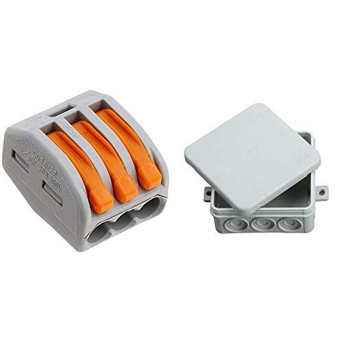 Wago 222-413 3-Leiter-Klemme mit Betätigungshebel, grau/orange, 50 Stk. & Kopp 347114008 Abzweigdose Aufputz-Feuchtraum, mit 5-poliger Klemmleiste, IP 54, 85 x 85 x 40 mm