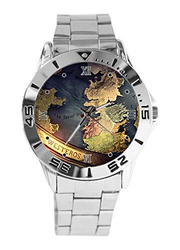 Montre analogique à quartz avec cadran argenté et bracelet classique en acier inoxydable Motif cartes Game of Thrones