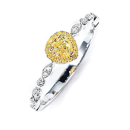 AmDxD Anillo de Boda Oro 18 Kilates, Anillo Compromiso 0.2ct Pera Amarillo Diamante con 0.09ct Blanco Diamante, Oro Blanco, Tamaño 10 (Perímetro: 49mm)