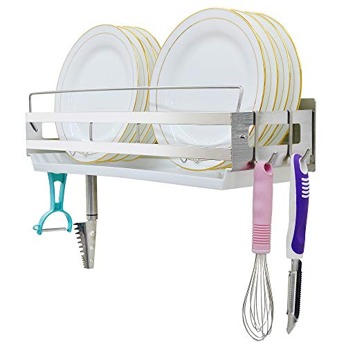 Hanging Dish Drying Rack Wall Mount Over the Sink...
