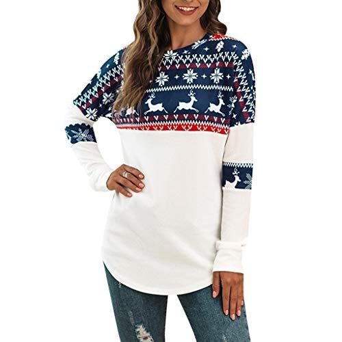 Alwayswin Damen Xmas Langarm Tuniken Casual Weihnachtsdruck Sweatshirt Lose Casual Pullover Patching Lange Hülsen Bluse Tops Weihnachten Bekleidung O-Ausschnitt Oberteile T-Shirt