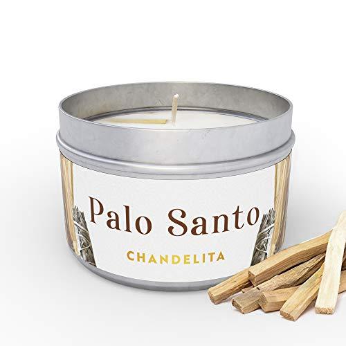 Chandelita Vela Aromática de Palo Santo para Purificar la Energia, Sanar y Limpiar Espiritualmente, con Cera de Soja para Relajación, Meditación y Sanación de Chakras o como Decoración para el Hogar