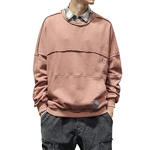 Sweatshirt Herren Casual für Tops, T-Shirts & Hemden für Herren, Holeider Basic Pullover Herren Langarm Rundhals Herbst Winter Einfarbig Klassisch Mode Streetwear Pulli für Männer