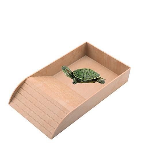BODISEINT Plastic Emulational Rock Wood Tortoise Reptile Water Bowl with Ramp Basking for Small Box Turtle Climb Bath Reptile Water Dish Turtle Reptile Habitat Aquarium Tank Decor (Emulational Wood)