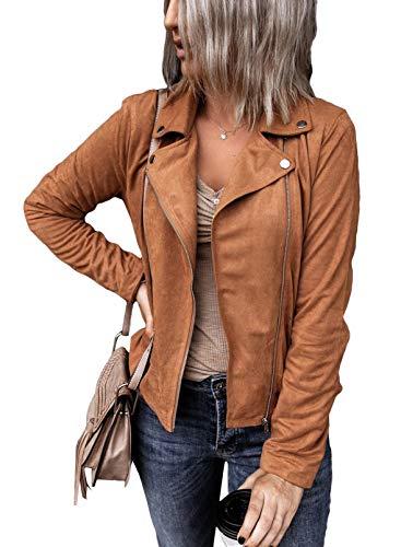 AlvaQ Chaqueta de piel sintética de manga larga para mujer, con cremallera y cuello