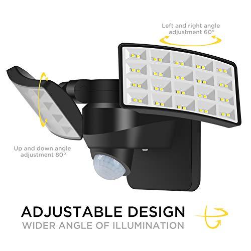 Luz Solar Exterior,BOSWEE Foco solar LED de exterior de ajustable...