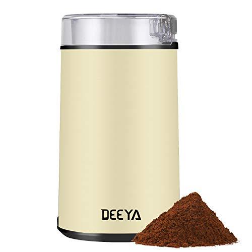 DEEYA Elektrische Kaffeemühle mit Edelstahlklingen für Kaffeebohnen,Nüsse, Zucker, Getreide Korn, Kräuter, Würzen, Unkraut 200 W (Beige)