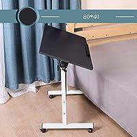 ホイール付きモバイルノートパソコンテーブルの高さサーバントTableadjustable、スイベルヘッド読む書き込み病院デスクトップコンピュータRの80x50cm(31x20inch),METER,80x40cm(31x16inch)