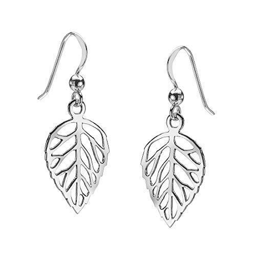 Materia Damen Ohrringe Blatt Silber 925 - filigrane Ohrhänger Blätter Natur Schmuck mit Geschenk-Box So-17