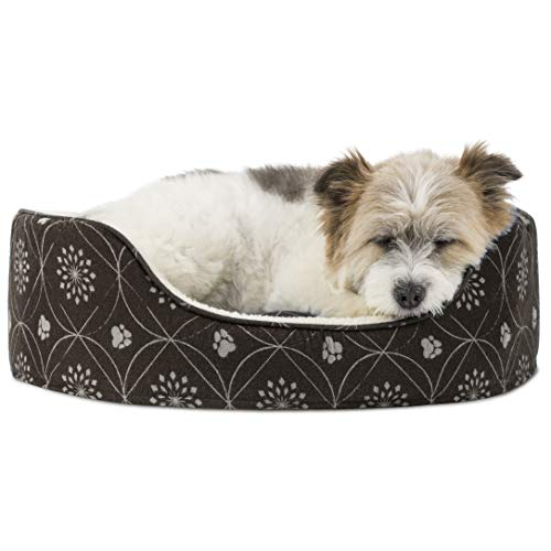 Furhaven Pet Dog Bed - Round Oval Cuddler Paw Print Décor Flannel Nest Lounger Pet Bed for Dogs and...