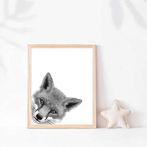 Zeichnung Leinwand Poster Drucke Tier Fuchs Schwarz Weiß Wandkunst Bild Malerei Kinderzimmer Dekor-40x60cmx1 Stück kein Rahmen