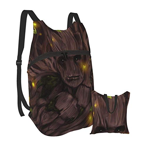 Groot Cartoon Folding Portable Backpack Lightweight Packable Backpacks Travel Hiking Daypack Water Resistant Camping Outdoor Foldable for Men Women Travel Hiking Waterproof Backpack