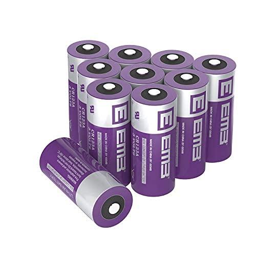 EEMB CR123A 3V Batterie, CR123A 1500mAh Pile Monouso, Ultra Potenza e Alte Prestazioni, per torcia giocattolo Sistema di allarme, Non Compatibile con Arlo(10)