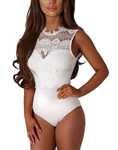 Mujer Body Sin Espalda Superior Elegante Cuerpo De Las Señoras Ropa Fiesta Sin Mangas Negro Mono Ropa Interior Erótica Festiva Pijamas (Color : Blanco, One Size : L)