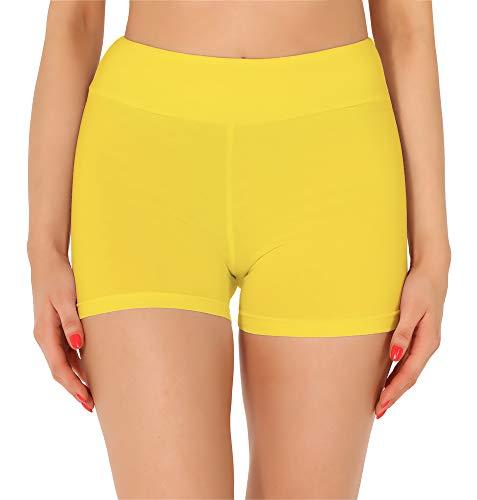 Merry Style Damen Shorts Radlerhose Unterhose Hotpants Kurze Hose Boxershorts aus Baumwolle MS10-359 (Gelb, M)
