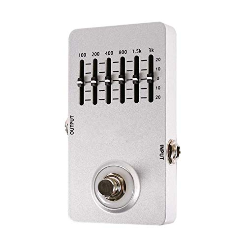 QuRRong Guitar Effect Pedal Electric Guitar Equalizer Effect Pedal 6-Band EQ Full Metal Shell True Bypass for Practice (Color : White, Size : 11.5 x 6 x 2cm)