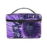 Neceser Maquillaje, Ligera Maleta de Makeup, Bolsa de Maquillaje de Viaje Portátil Bolsa de Cosméticos Organizador para Mujer (Flor Purpura)
