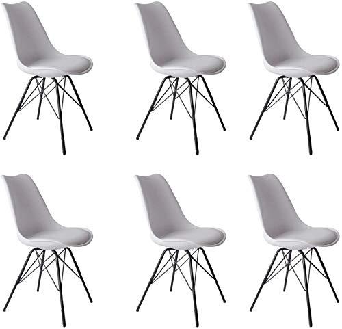 SAM 6er Set Schalenstuhl Lerche, weiß, integriertes Kunstleder-Sitzkissen, Schwarze Metallfüße, Esszimmerstuhl im skandinavischen Stil
