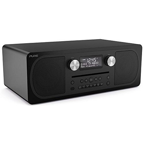 Pure Evoke C-D6 Stereo-All-in-One-Musikanlage (Digitalradio, CD, DAB/DAB+ Digital-, UKW-Radio, Internetradio, Bluetooth, Weckfunktionen und Sleep-Timer, 20 Senderspeicherplätze, AUX), Siena Schwarz