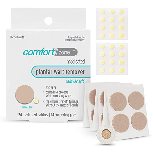 Comfort Zone Plantar Wart Remover Kit, Maximum Strength Salicylic Acid Medicated Patches and Concealing Pads, 24 Count