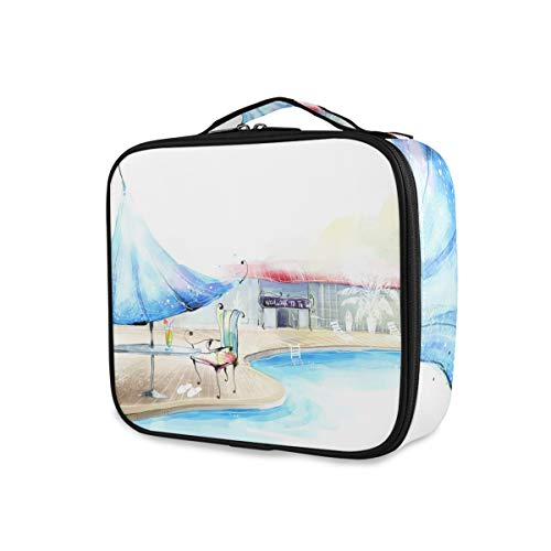 Piscine Time Makeup Bag Travel Portable Purse Toiletry Pouch Tools Cosmetic Train Case Storage