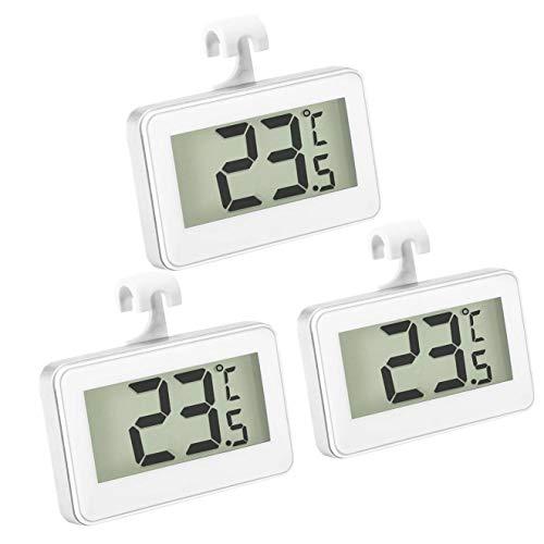 Thlevel 3x Termómetro del Refrigerador Termómetro Digital para Congelador Termómetro de Nevera Pantalla LCD Termómetro Impermeable para Congelador con Gancho para Lectura de Temperatura