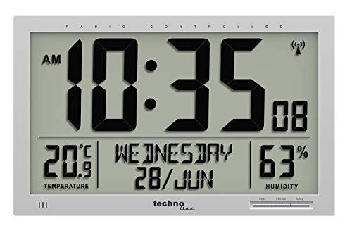 Technoline WS 8013 - digitale, moderne Designer XL Funkwanduhr, schlanker Rahmen, Temperaturanzeige, JUMBO LCD Display, 37 cm x 27 cm, silber