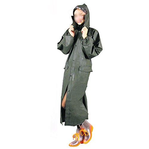 Zhihui Rainwear Zzhf Yuyi addensare lungo sezione a maglia tessuto impermeabile/adulti all' aperto casual abito impermeabile/antivento doppio strato antipioggia verde militare poncho, XXXL
