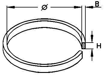 Aandrijving riem rand 35.0 x 1.20 x 1.20 mm