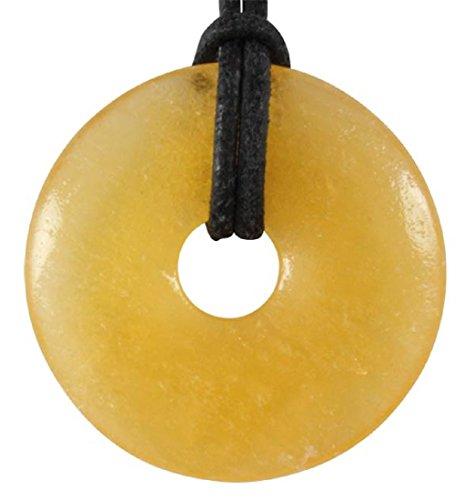 Orangencalcit Donut als Geschenkset mit Lederband, 30 mm/Edelstein gelb orange