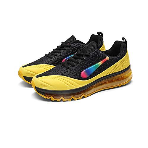 Zapatillas de correr para hombre, palma completa, con cojín de aire, absorción de golpes, antideslizantes, para hombre, tendencia de otoño, ligera, transpirable, color negro y amarillo, 39