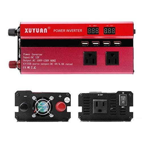 ZHCJH Wechselrichter 4000W Solarstrom Wechselrichter Sinus-LED 4 USB DC12/24V In AC110V/220V Wandeln