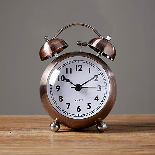 yzdhha Metal Pequeño Reloj Despertador Estudiante con El Interruptor del Interruptor De La Cabecera Sit-Silencio Reloj Sonido De Ruido Mecánico De Gran Tamaño 3 Pulgadas Cobre