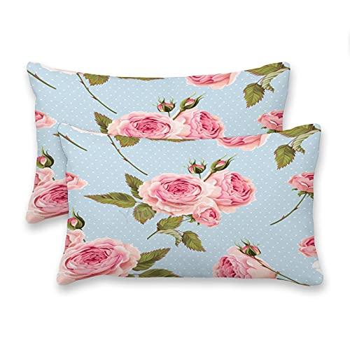 Juego de 2 fundas de almohada de 20 x 76 cm, rectangular, fundas de cojín lumbar, fundas de almohada para cama, sofá, decoración del coche, hermoso fondo romántico de flores