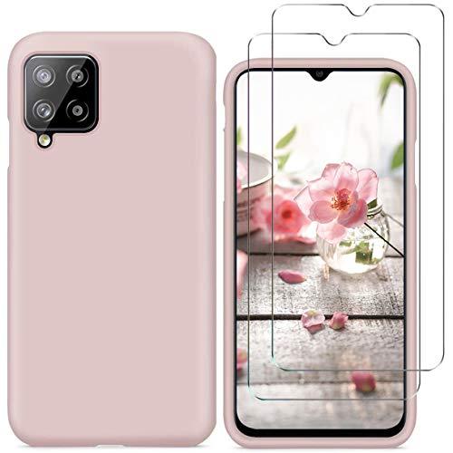 N\C YiKaDa - Cover Compatibile con Samsung Galaxy A12 + [2 Pack] Pellicola Protettiva in Vetro Temperato, Custodia Liquid Silicone Leggero - Rosa