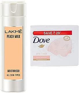 Lakmé Peach Milk Moisturizer Body Lotion 200 ml & Dove Pink Rosa Beauty Bathing Bar, 100g (Pack of 3)