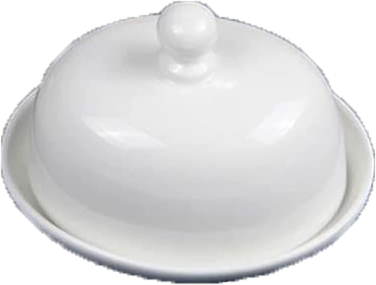 YRHH Butter Dish Ceramic Round Limited price sale Pure Box Max 43% OFF Simple White with