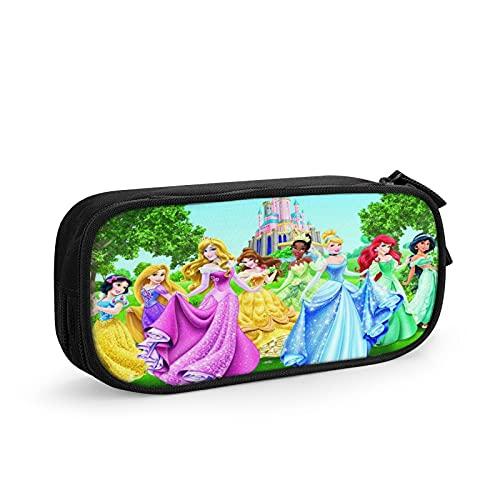 Estuche redondo con diseño de princesas Disney, multicolor, apto para niños, unisex, para adolescentes, para la escuela, maquillaje o actividades