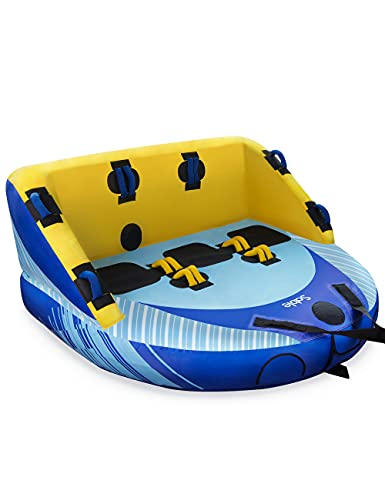 Sable 3 Person Towable Tube for Boating, 1-3 Rider Inflatable Towable Water Tube with Dual Front & Back Two Points, Included Air Pump